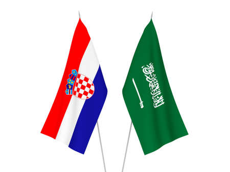 National fabric flags of Saudi Arabia and Croatia isolated on white background. 3d rendering illustration.