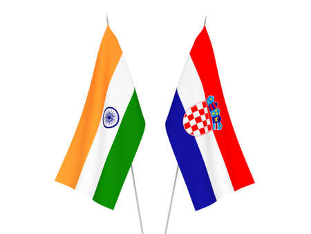 National fabric flags of Croatia and India isolated on white background. 3d rendering illustration. Imagens