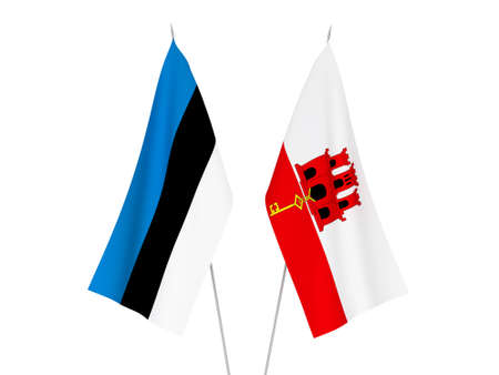 National fabric flags of Gibraltar and Estonia isolated on white background. 3d rendering illustration.