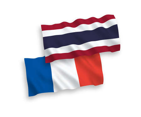 National vector fabric wave flags of France and Thailand isolated on white background. 1 to 2 proportion.