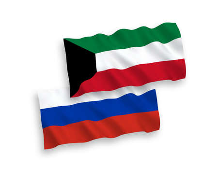 National vector fabric wave flags of Kuwait and Russia isolated on white background. 1 to 2 proportion. Illustration