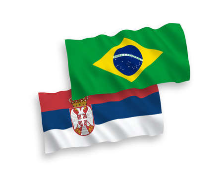 National vector fabric wave flags of Brazil and Serbia isolated on white background. 1 to 2 proportion.