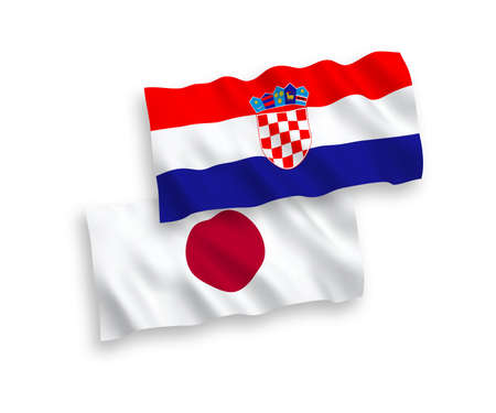 National vector fabric wave flags of Japan and Croatia isolated on white background. 1 to 2 proportion.
