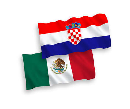 National vector fabric wave flags of Mexico and Croatia isolated on white background. 1 to 2 proportion.