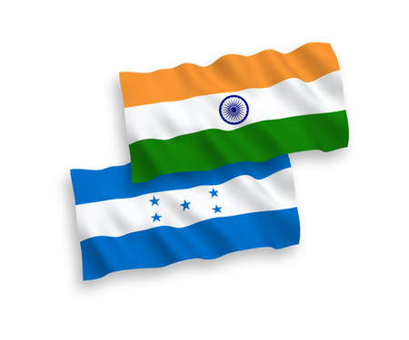 National vector fabric wave flags of India and Honduras isolated on white background. 1 to 2 proportion. Illustration