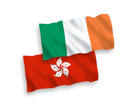 National vector fabric wave flags of Ireland and Hong Kong isolated on white background. 1 to 2 proportion.