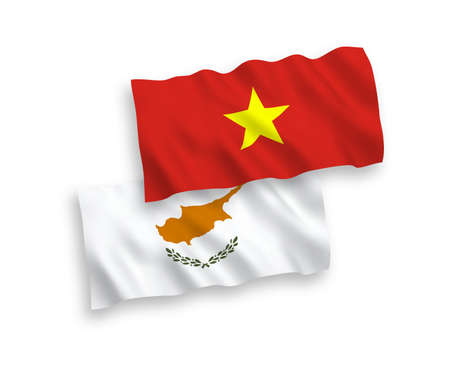 National vector fabric wave flags of Cyprus and Vietnam isolated on white background. 1 to 2 proportion. Illustration