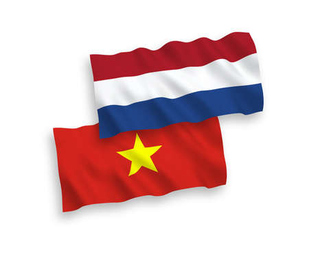 National vector fabric wave flags of Vietnam and Netherlands isolated on white background. 1 to 2 proportion.