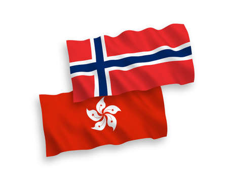 National vector fabric wave flags of Norway and Hong Kong isolated on white background. 1 to 2 proportion.