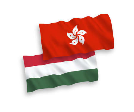 National vector fabric wave flags of Hong Kong and Hungary isolated on white background. 1 to 2 proportion.