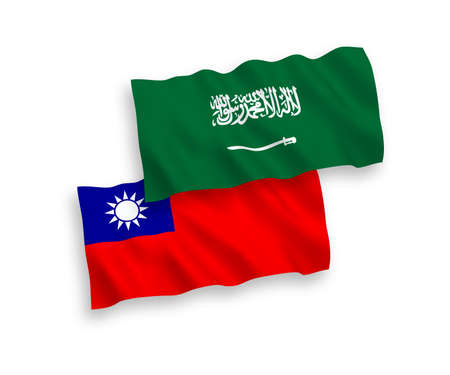National vector fabric wave flags of Saudi Arabia and Taiwan isolated on white background. 1 to 2 proportion. Stock Photo