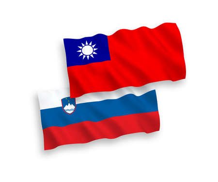 National vector fabric wave flags of Slovenia and Taiwan isolated on white background. 1 to 2 proportion. Stock Photo - 133557530