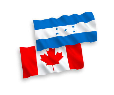 National vector fabric wave flags of Canada and Honduras isolated on white background. 1 to 2 proportion. Stock Photo - 133557531