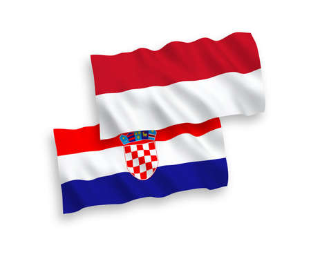 National vector fabric wave flags of Indonesia and Croatia isolated on white background. 1 to 2 proportion.