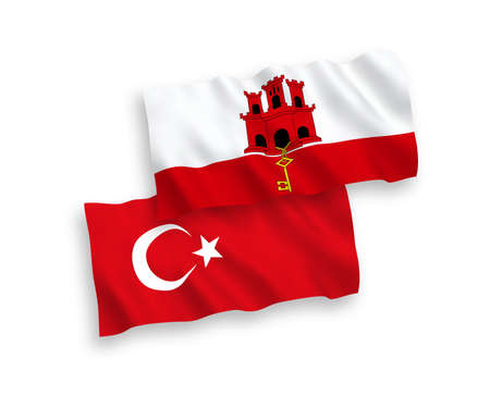 National vector fabric wave flags of Turkey and Gibraltar isolated on white background. 1 to 2 proportion. Stock Photo