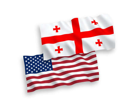 National vector fabric wave flags of Georgia and USA isolated on white background. 1 to 2 proportion. Stock Photo