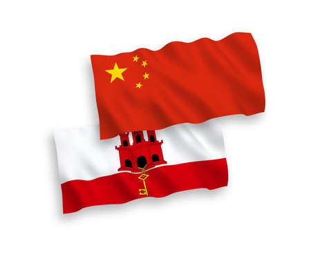 National vector fabric wave flags of Gibraltar and China isolated on white background 1 to 2 proportion. Stock Photo - 133557581