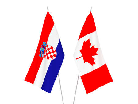 National fabric flags of Croatia and Canada isolated on white background. 3d rendering illustration.