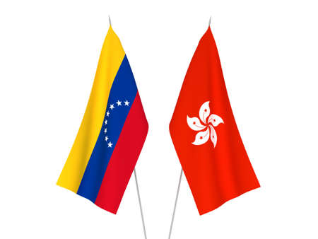 National fabric flags of Hong Kong and Venezuela isolated on white background. 3d rendering illustration.