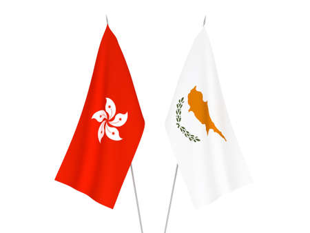 National fabric flags of Hong Kong and Cyprus isolated on white background. 3d rendering illustration. Фото со стока