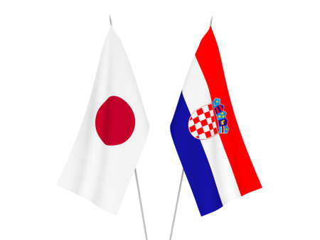 National fabric flags of Japan and Croatia isolated on white background. 3d rendering illustration.