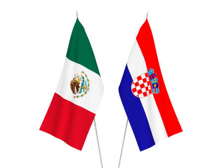 National fabric flags of Croatia and Mexico isolated on white background. 3d rendering illustration. Imagens