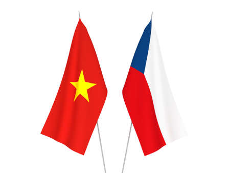 National fabric flags of Vietnam and Czech Republic isolated on white background. 3d rendering illustration. Stockfoto