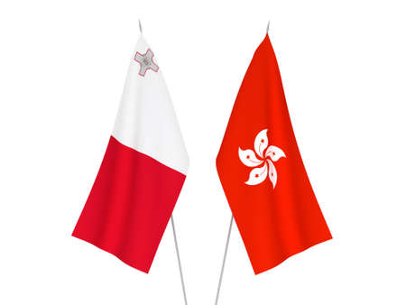 National fabric flags of Hong Kong and Malta isolated on white background. 3d rendering illustration. Фото со стока