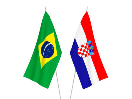 National fabric flags of Brazil and Croatia isolated on white background. 3d rendering illustration.