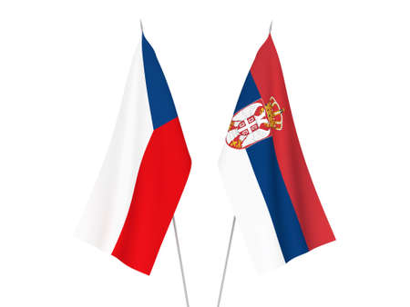 National fabric flags of Serbia and Czech Republic isolated on white background. 3d rendering illustration. Stockfoto
