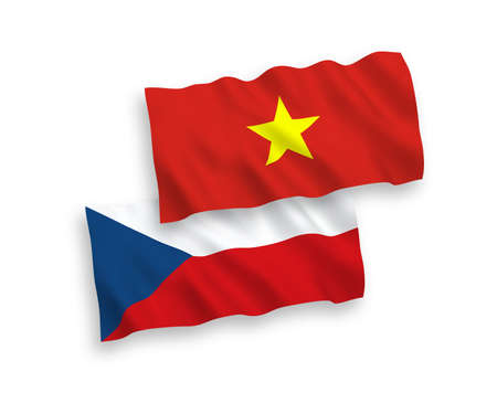 National vector fabric wave flags of Czech Republic and Vietnam isolated on white background. 1 to 2 proportion.
