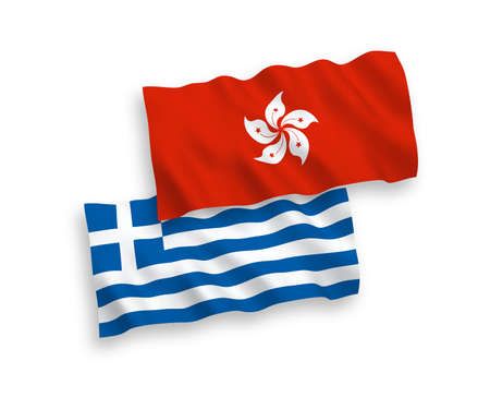 National vector fabric wave flags of Greece and Hong Kong isolated on white background. 1 to 2 proportion.