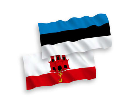 National vector fabric wave flags of Estonia and Gibraltar isolated on white background. 1 to 2 proportion.