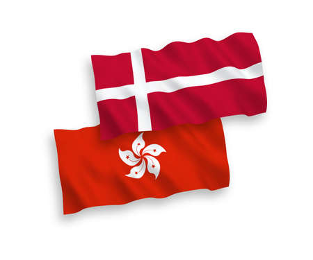National vector fabric wave flags of Denmark and Hong Kong isolated on white background. 1 to 2 proportion.