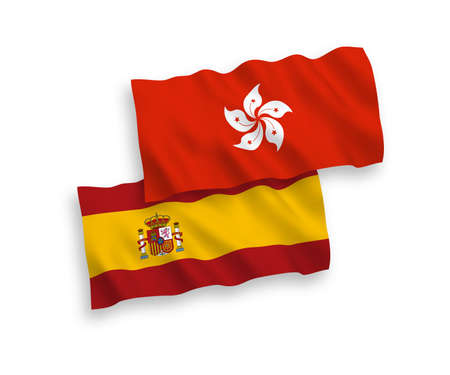 National vector fabric wave flags of Hong Kong and Spain isolated on white background. 1 to 2 proportion. Иллюстрация