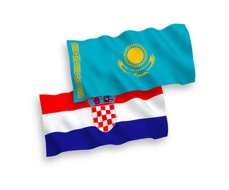 National vector fabric wave flags of Kazakhstan and Croatia isolated on white background. 1 to 2 proportion.