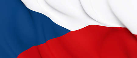National Fabric Wave Closeup Flag of Czech Republic Waving in the Wind. 3d rendering illustration. Stockfoto