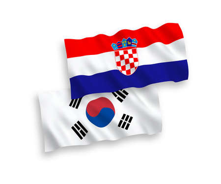 National vector fabric wave flags of South Korea and Croatia isolated on white background. 1 to 2 proportion.