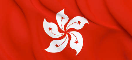 National Fabric Wave Closeup Flag of Hong Kong Waving in the Wind. 3d rendering illustration.