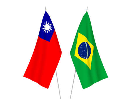 National fabric flags of Brazil and Taiwan isolated on white background. 3d rendering illustration. Фото со стока