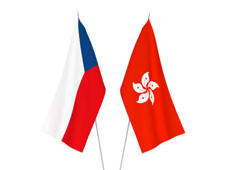 National fabric flags of Hong Kong and Czech Republic isolated on white background. 3d rendering illustration.