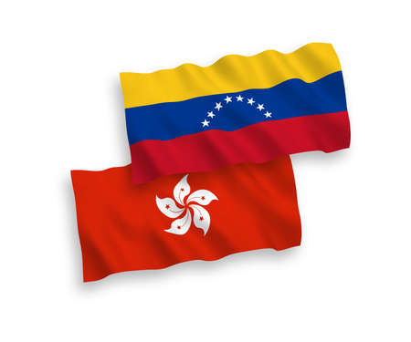 National vector fabric wave flags of Venezuela and Hong Kong isolated on white background. 1 to 2 proportion.