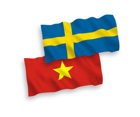 National vector fabric wave flags of Sweden and Vietnam isolated on white background. 1 to 2 proportion. Illustration