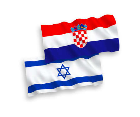 National vector fabric wave flags of Croatia and Israel isolated on white background. 1 to 2 proportion. Illustration
