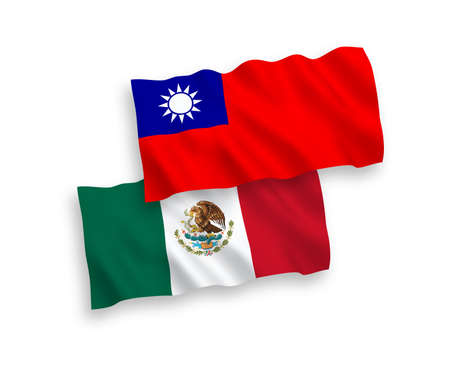 National vector fabric wave flags of Mexico and Taiwan isolated on white background. 1 to 2 proportion. Illustration