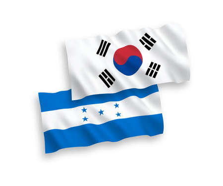National vector fabric wave flags of South Korea and Honduras isolated on white background. 1 to 2 proportion. Stock Vector - 133557704