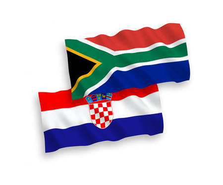 National vector fabric wave flags of Croatia and Republic of South Africa isolated on white background. 1 to 2 proportion.