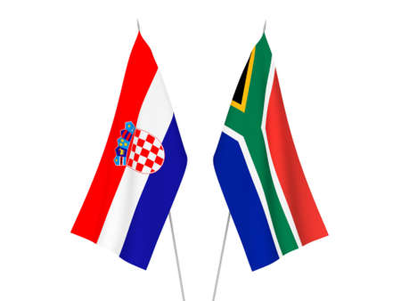 National fabric flags of Republic of South Africa and Croatia isolated on white background. 3d rendering illustration. Imagens