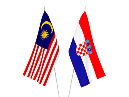 National fabric flags of Croatia and Malaysia isolated on white background. 3d rendering illustration.