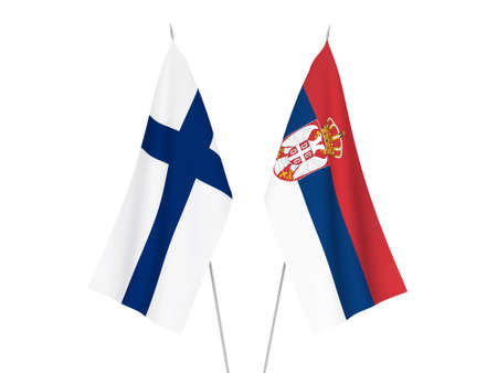 National fabric flags of Serbia and Finland isolated on white background. 3d rendering illustration.